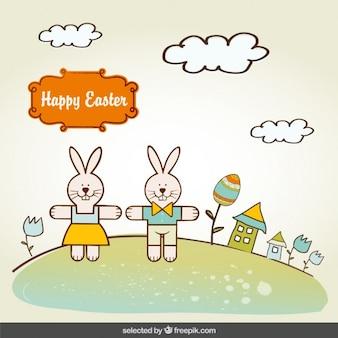 Tarjeta de Pascua con conejos