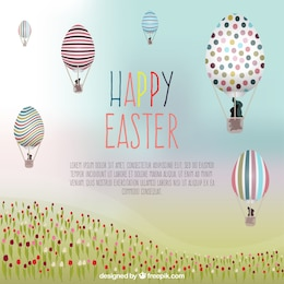 Tarjeta de Pascua con globos de aire caliente