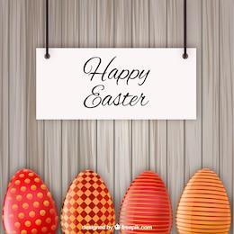 Tarjeta de Pascua con huevos de color rojo decorado