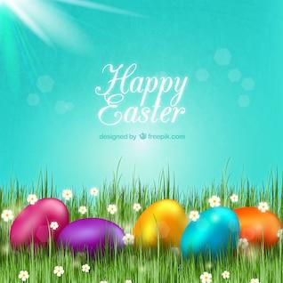 Tarjeta de Pascua con huevos de colores