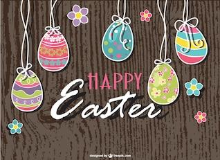 Tarjeta de Pascua con textura de madera