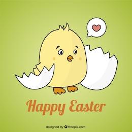 Tarjeta de Pascua con un polluelo lindo