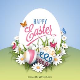 Tarjeta de Pascua en el estilo primaveral