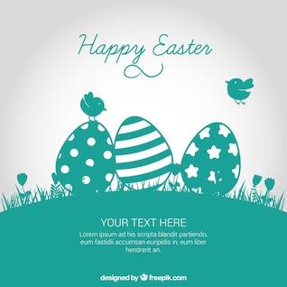Tarjeta de Pascua en tono turquesa