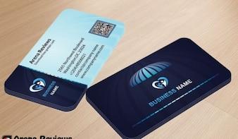 Tarjeta de presentación corporativa en colores azul