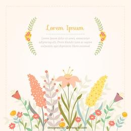 Tarjeta de primavera con flores de colores