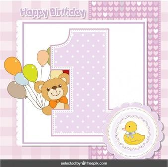 Tarjeta de primer aniversario con el oso de peluche y el pato