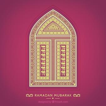 Tarjeta de Ramadán Mubarak con una ventana ornamental