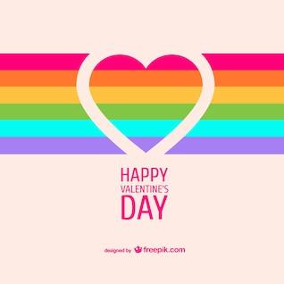 Tarjeta de San Valentín con arcoíris