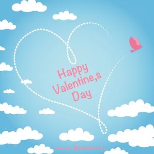 Tarjeta de San Valentín con cielo
