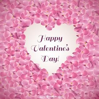Tarjeta de San Valentín con los pétalos de rosa