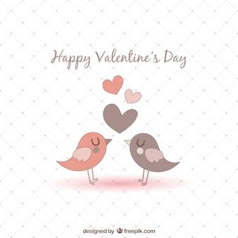 Tarjeta de San Valentín con pájaros
