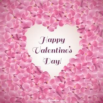 Tarjeta de San Valentín con pétalos de rosa