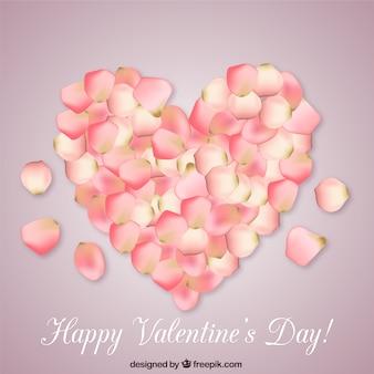 Tarjeta de San Valentín con pétalos