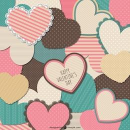 Tarjeta de San Valentín de corazones de papelería