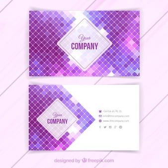 Tarjeta de visita con cuadrados de color púrpura