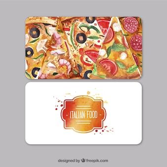 Tarjeta de visita de acuarela para el restaurante italiano