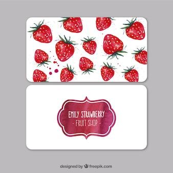 Tarjeta de visita de fresas de acuarela