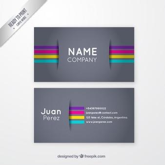 Tarjeta de visita gris con rayas de colores