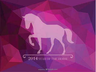 Tarjeta del 2014 Año del caballo sobre fondo violeta