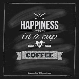 Tarjeta del café en la pizarra