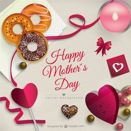 Tarjeta del día de la madre con bombones y dulces