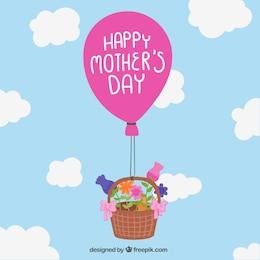 Tarjeta del día de la madre con cesta y globo