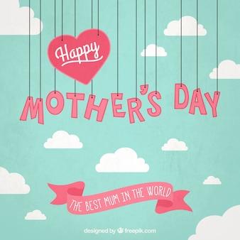 Tarjeta del día de la madre con letras colgando
