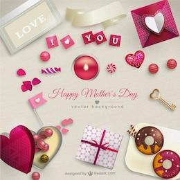 Tarjeta del día de la madre con regalos