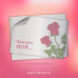Tarjeta del día de la madre con rosas