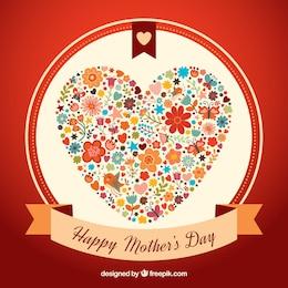 Tarjeta del día de la madre con un corazón lindo