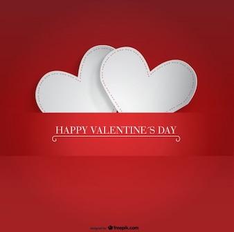Tarjeta del día de San Valentín con diseño de dos corazones de papel