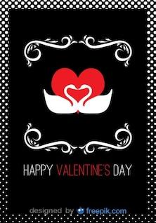 Tarjeta del día de San Valentín de cisnes en forma de corazón