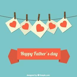 Tarjeta del día del padre con corazones