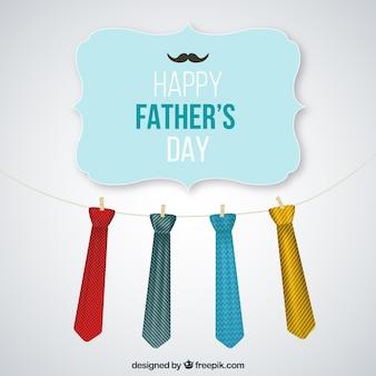 Tarjeta del día del padre con corbatas colgando