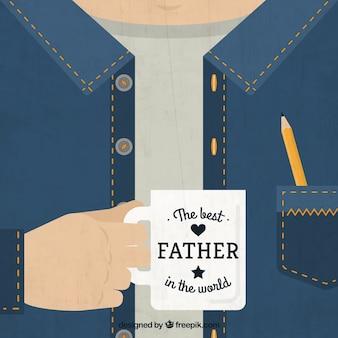 Tarjeta del día del padre con una taza