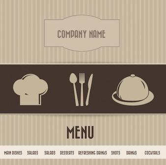 Tarjeta del menú del restaurante simple Brown