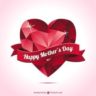 Tarjeta día de la madre con corazón rojo