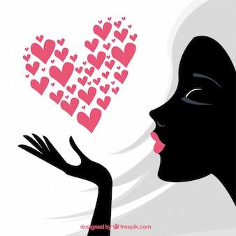 Tarjeta Día de la Mujer con la silueta de mujer negro
