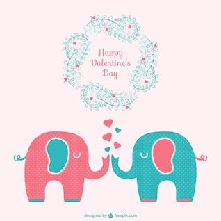 Tarjeta Feliz San Valentín con elefantes