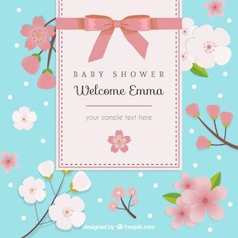 Tarjeta floral de la bienvenida del bebé