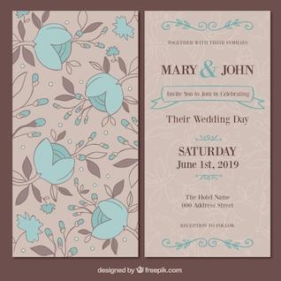 Tarjeta floral de la boda