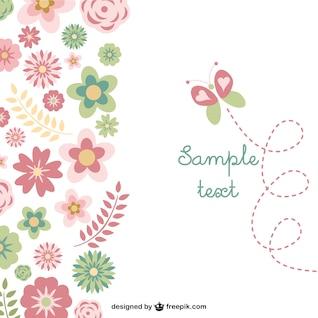 Tarjeta gratuita con mariposa y flores