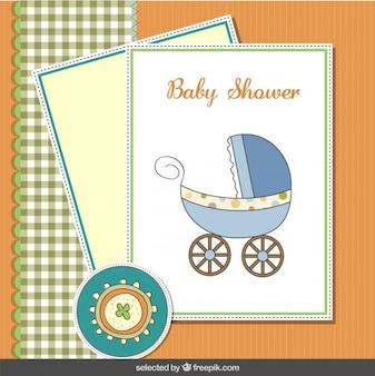 Tarjeta linda de la ducha de bebé con cochecito de bebé