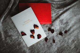 Tarjeta postales rojas y blanca