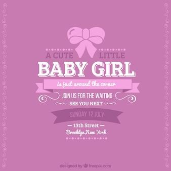Tarjeta retro de bienvenida del bebé para chica