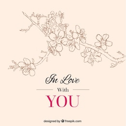 Tarjeta romántica con flores de cerezo