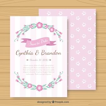 Tarjeta rosada floral de boda