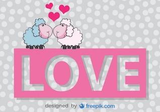 Tarjeta vector de San Valentín de ovejas de dibujos animados besándose