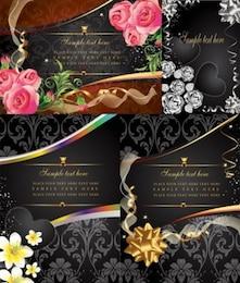 Tarjeta vector gratis flor rosa corazón negro elegante rosa de oro